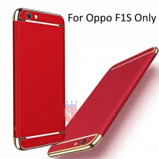 3 In 1 Ultra Thin Hard Coated Matte Surface Back Cover for Oppo F1S - Red & Gold
